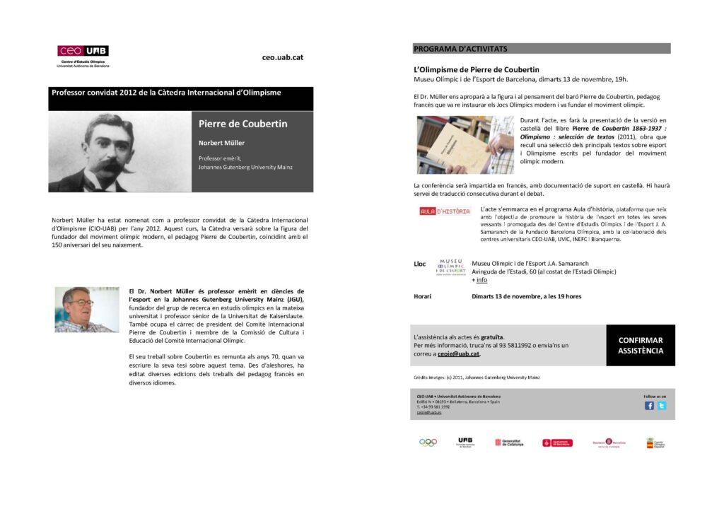 """Aula d'Història 2012/13: """"L'Olímpisme de Pierre de Coubertin"""""""